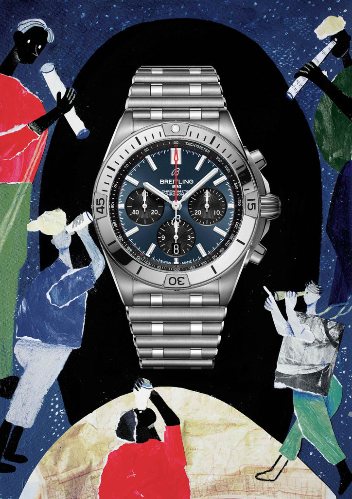 Watch with a blue baackground that includes people looking through telescopes at the watch by mixed media artist Auracherrybag