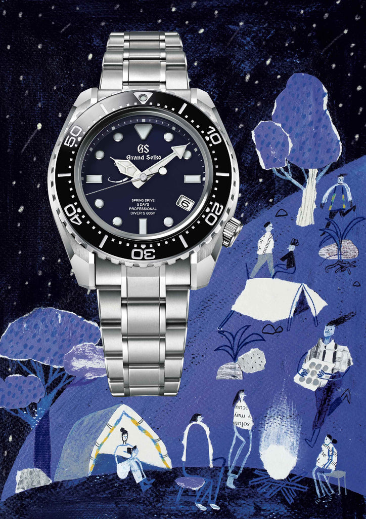 Watch that has an illustrated blue background that includes people camping by mixed media artist Auracherrybag