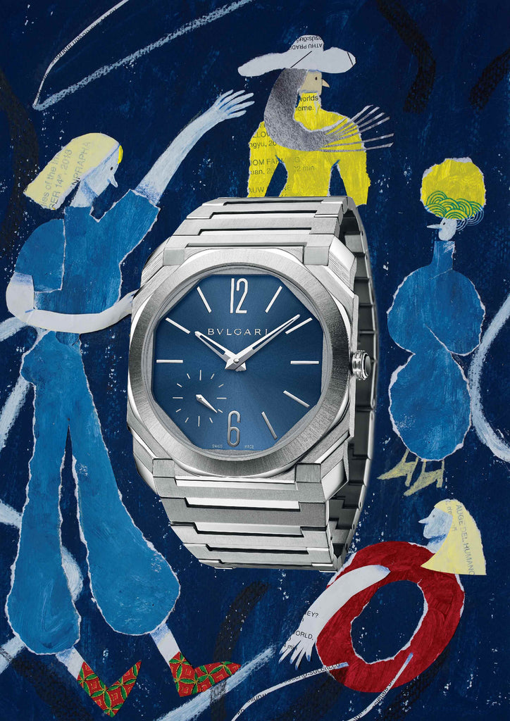 Watch with an illustrated blue background that includes people by mixed media artist Auracherrybag