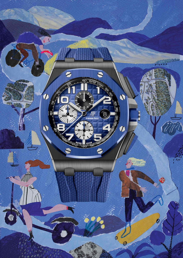 Watch with an illustrated blue background showing people skating a riding on a road by mixed media artist Auracherrybag