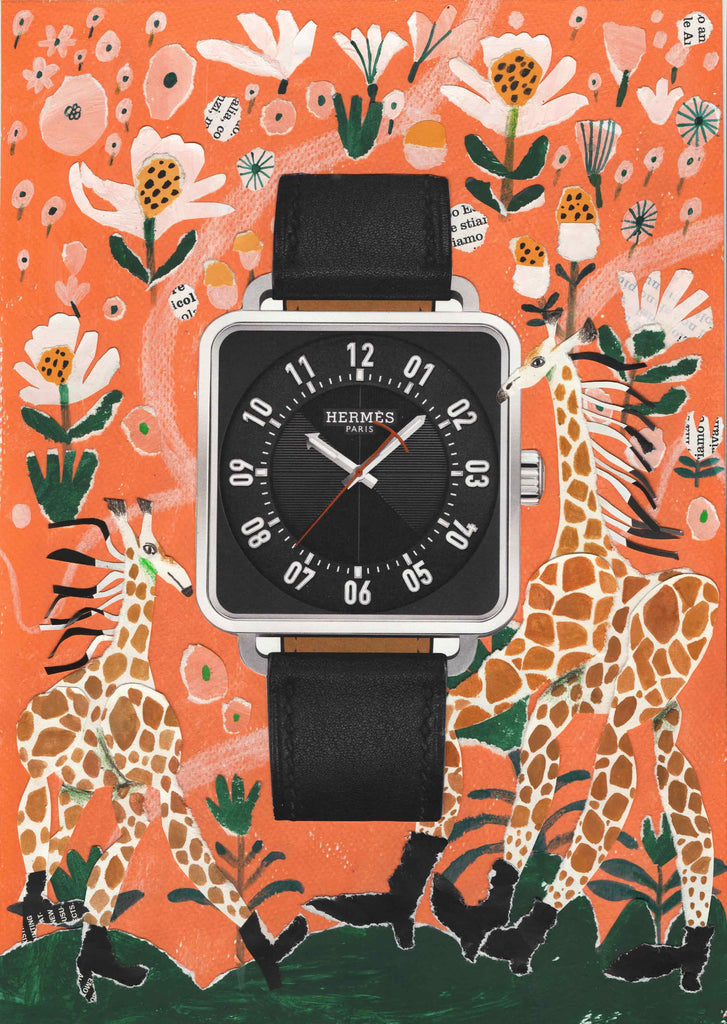 A watch with an illustrated background featuring two giraffes by mixed media illustrator Auracherrybag