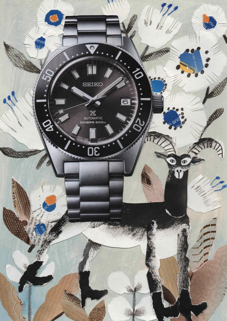 A watch with a collage illustration background and an animal by mixed media artist Auracherrybag