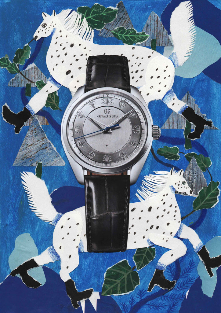A watch with an illustrated blue background with two horses by mixed media illustrator Auracherrybag