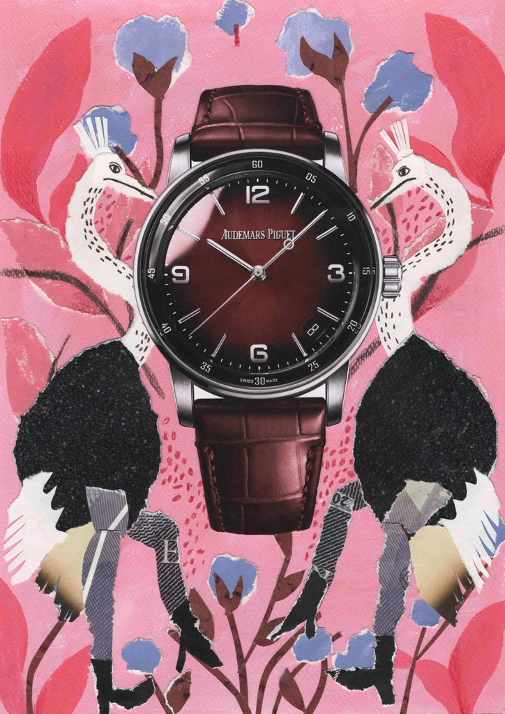 A watch with an illustrated pink background sided by two birds by mixed media illustrator Auracherrybag