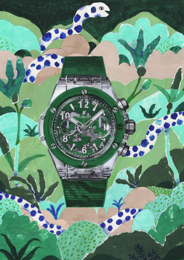 A watch with a green illustrated background featuring a dotted white snake by mixed media illustrator Auracherrybag