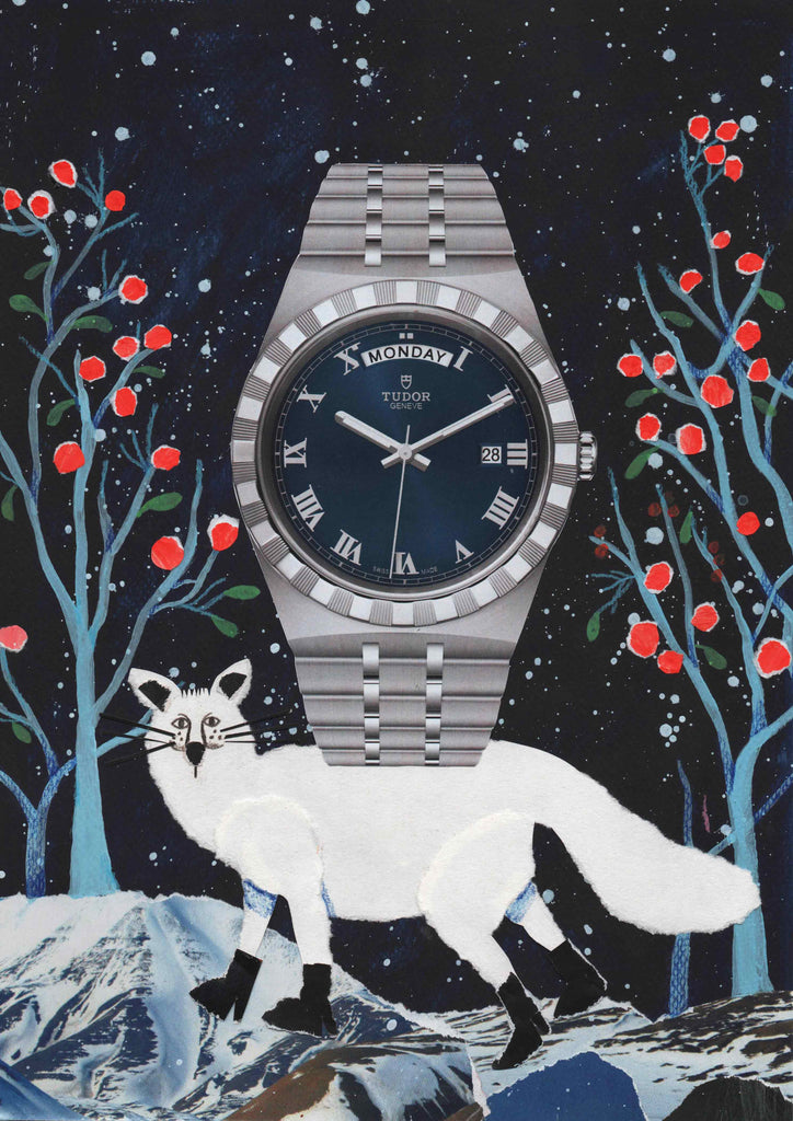 A watch against an illustrated background being help up by a white fox by mixed media illustrator Auracherrybag