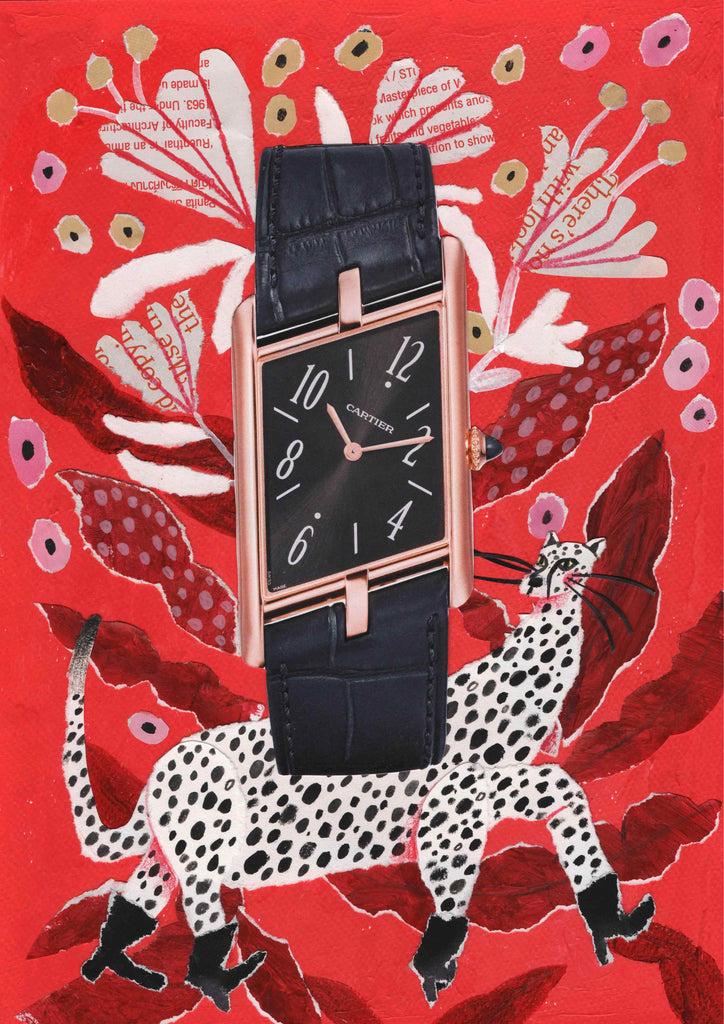Watch with an illustrated red and white background featuring an animal by mixed media illustrator Auracherrybag