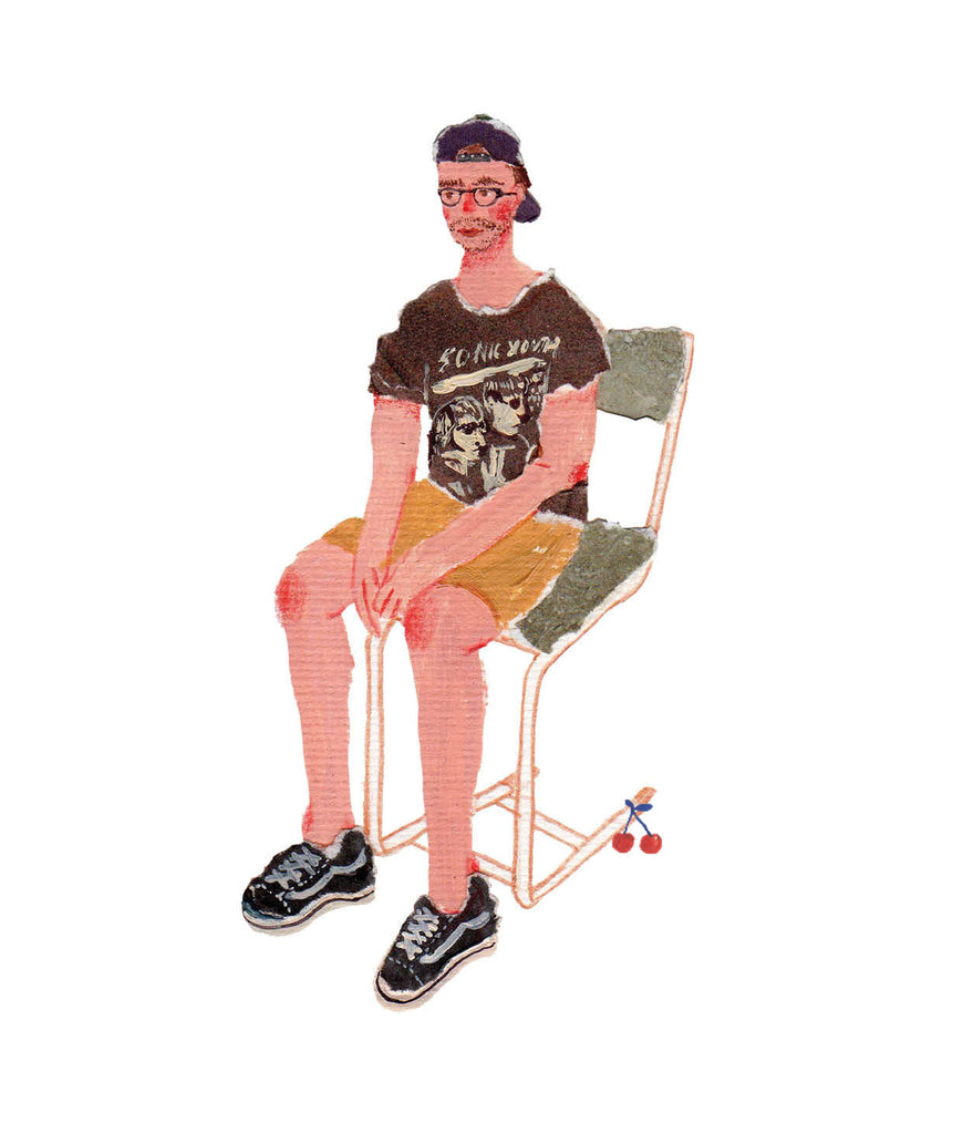 An illustration of a young man sitting in a green chair by the mixed media artist Auracherrybag
