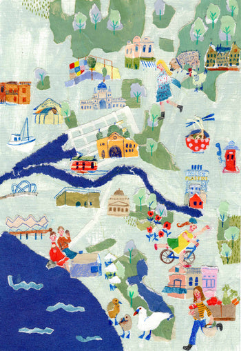 An illustrated map of a town that includes large people by the mixed media artist Auracherrybag