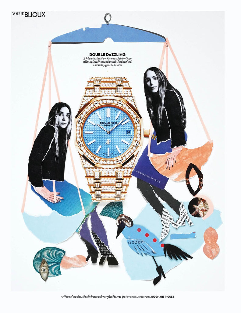 Page design for Vogue Thailand by mixed media artist Auracherrybag featuring Mary-Kate and Ashely Olsen with a Audemars Piguet watch