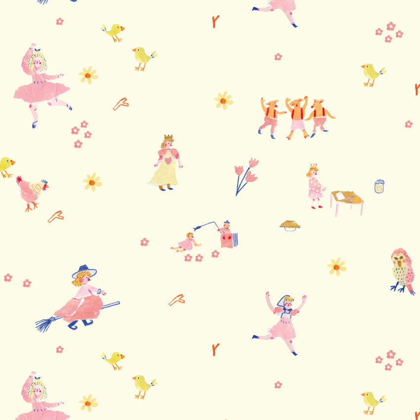 Close up of a design by mixed media artist Auracherrybag for Mother Goose Thailand. Includes Characters and animals
