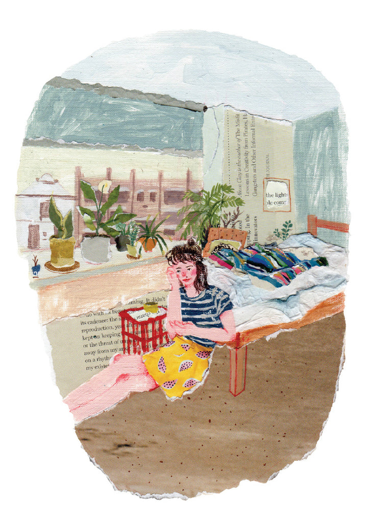 An illustration of girl sitting by a window surrounded by plants and a coffee by the mixed media artist Auracherrybag
