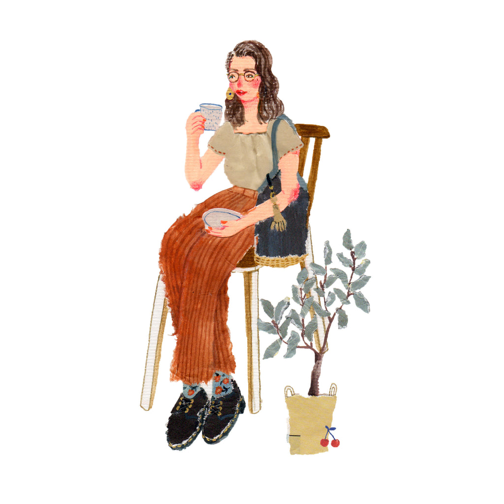 An illustration of a young woman wearing brown pants and sitting in a chair next to a plant by the mixed media artist Auracherrybag