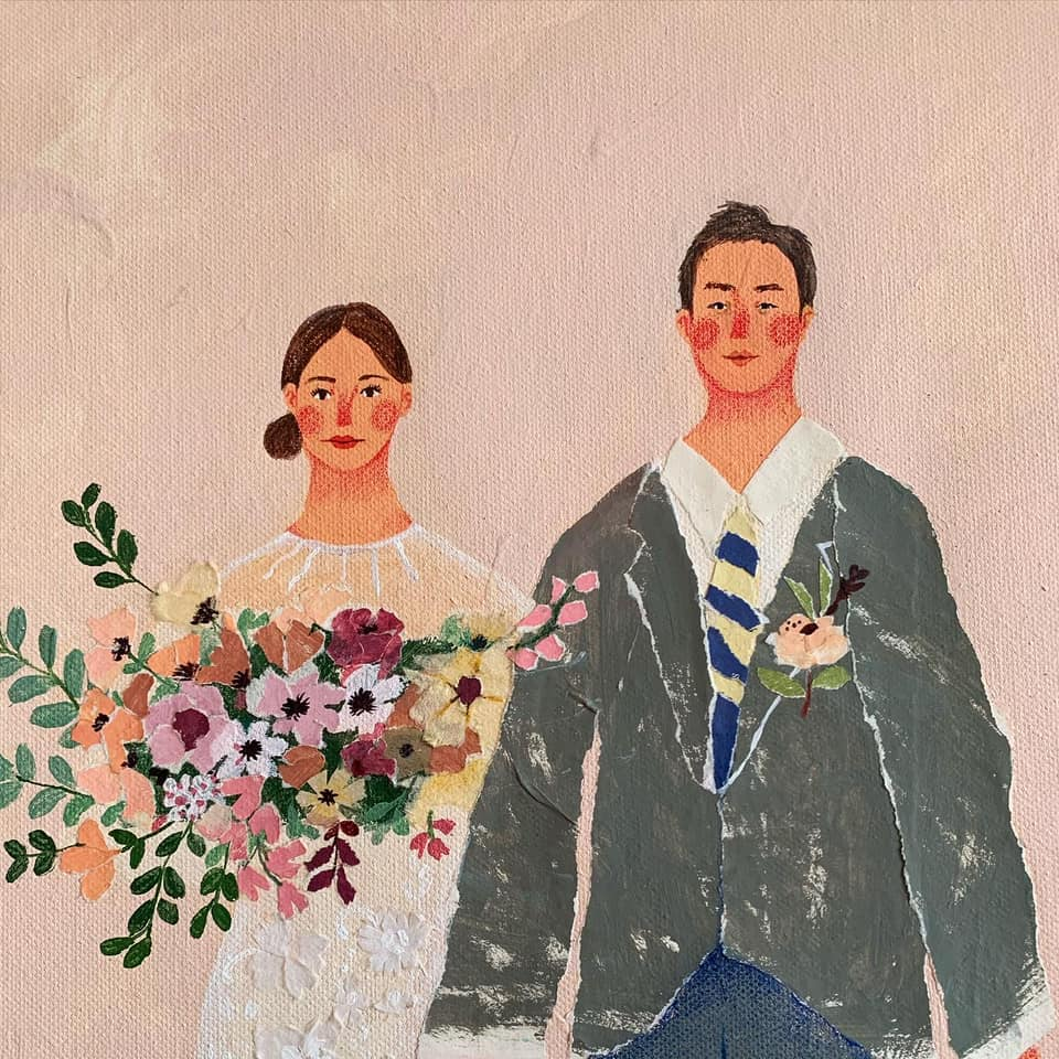 Mixed media wedding illustration showing two people and flowers by Auracherrybag