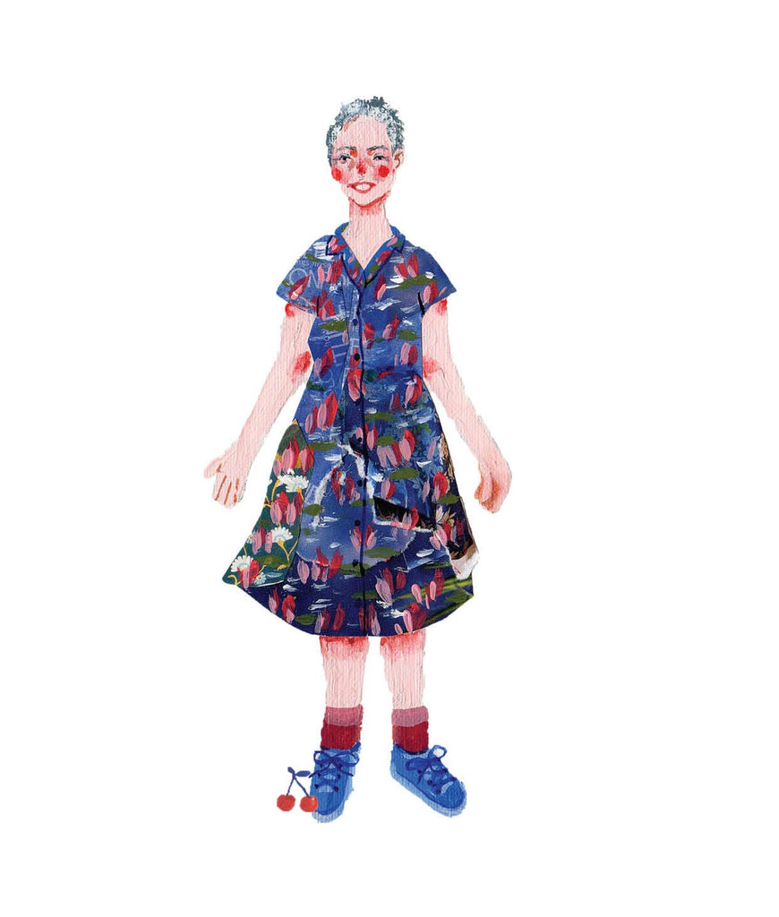 An illustration of a woman in a dress with blue shoesby the mixed media artist Auracherrybag