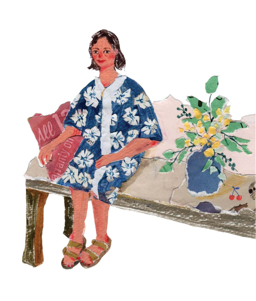An illustration of a woman on a bench, leaned against a pillow, and sided by a pot plantby the mixed media artist Auracherrybag