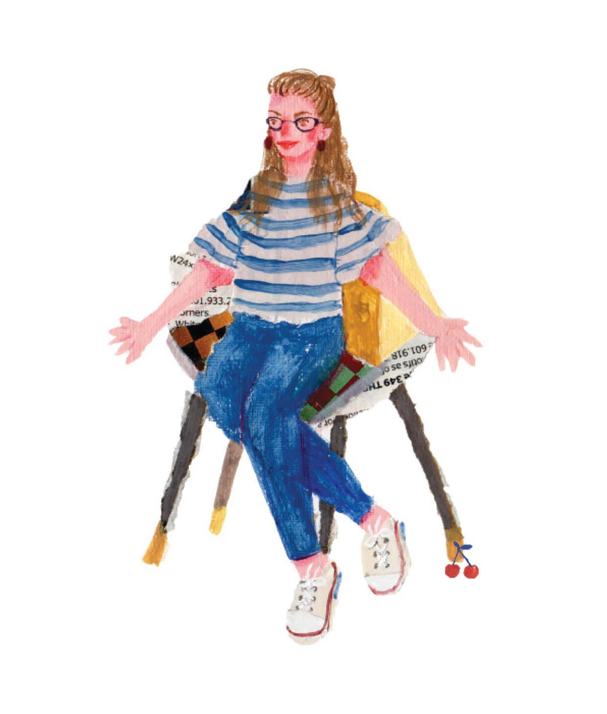 An illustration of a young woman in jeans and glasses, sitting in a chair, with her arms spreadby the mixed media artist Auracherrybag