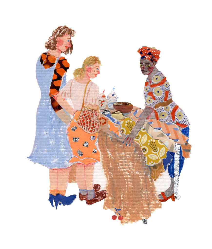 An illustration of two woman surrounding a woman selling things on a table by the mixed media artist Auracherrybag