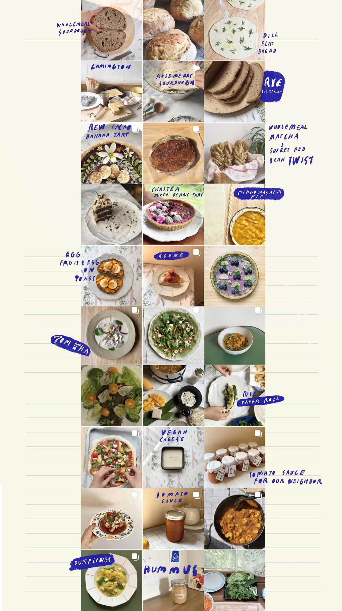 Handwritten introduction to collage and cooking blog by mixed media collage artist and illustrator by auracherrybag . include food and vegetable illustrations