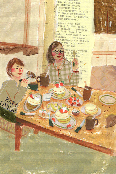 An illustration by mixed media artist Auracherrybag of two women eating food at a table