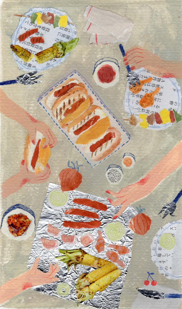 An illustration of hotdogs and vegetables being shared by mixed media artist Auracherrybag