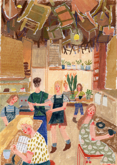 An illustration by mixed media artist Auracherrybag showing a resteraunt filled with people