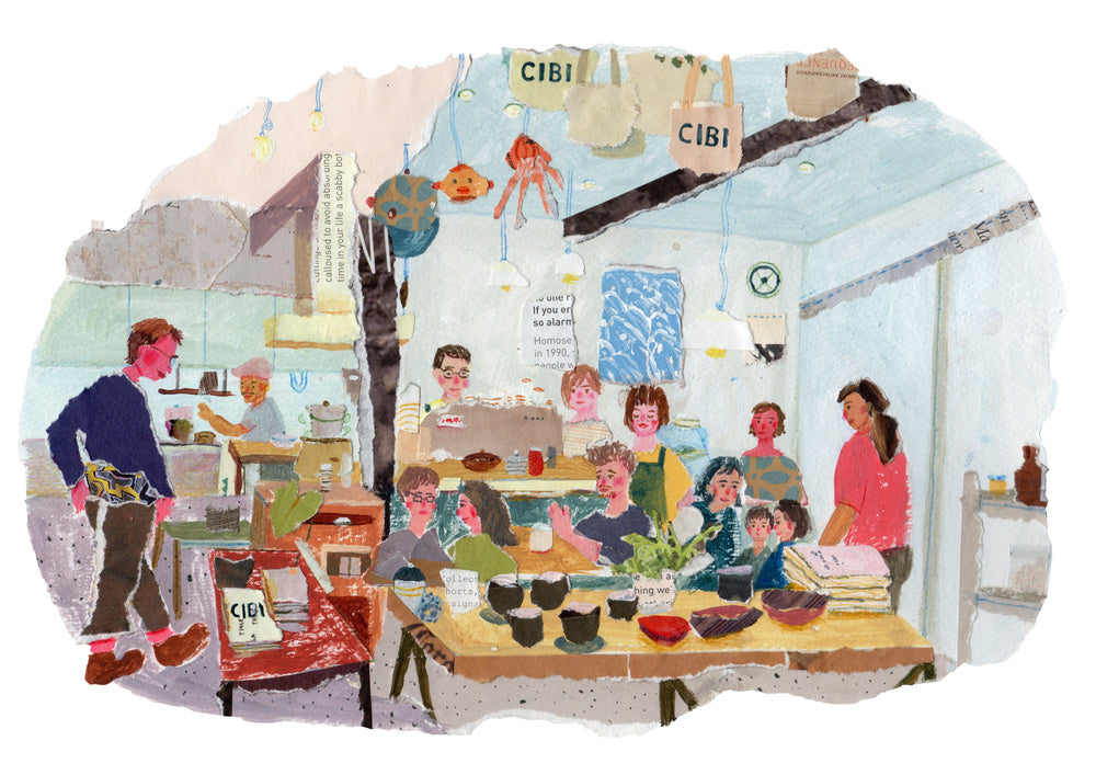 An illustration by mixed media artist Auracherrybag showing a cafe with people sitting and standing