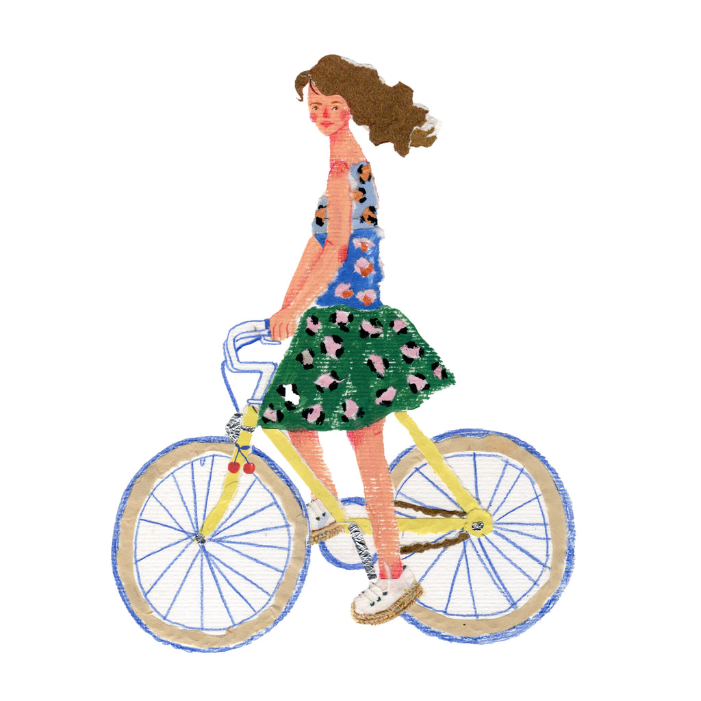 Illustration of a young Woman cycling by the mixed media artist Auracherrybag