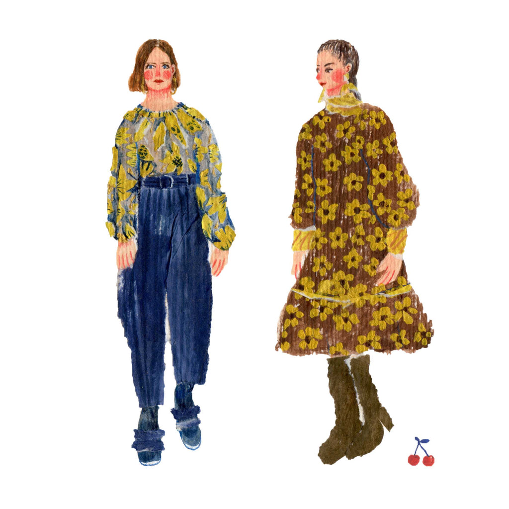 Illustration of two woman dressed in Autumn colours  by the mixed media artist Auracherrybag