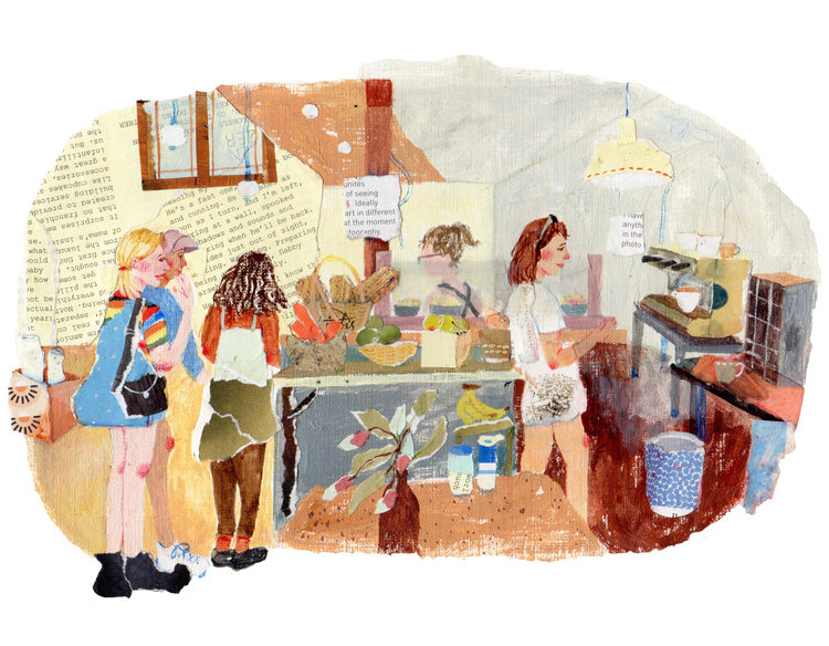 An illustration by mixed media artist Auracherrybag showing three girls inside a cafe together standing next to the counter