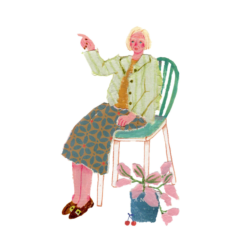 Illustration of an older woman in a chair next to a plant  by the mixed media artist Auracherrybag