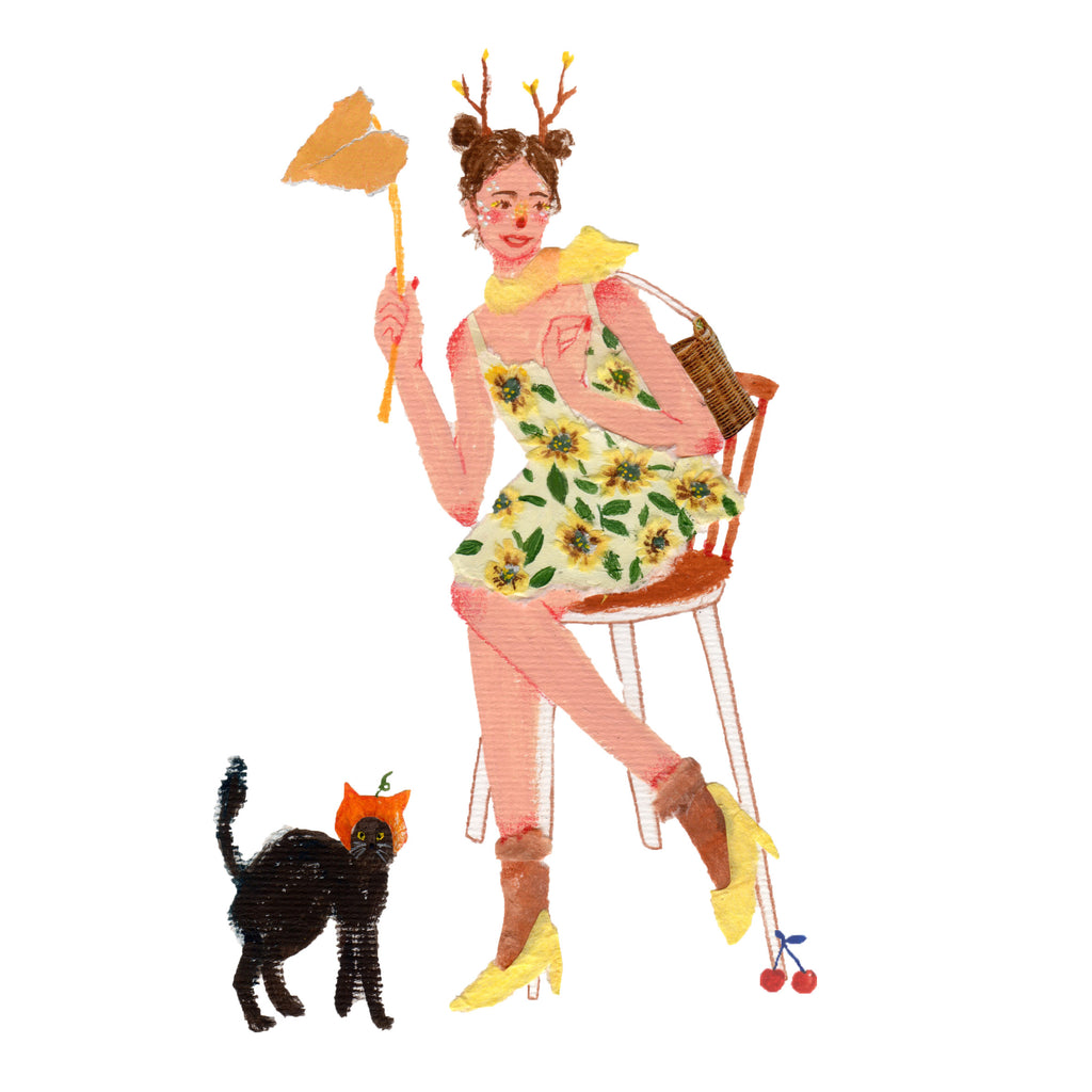 Illustration of a woman, dressed for halloween, who is sitting in a chair. A black cat is standing to her, the work is by the mixed media artist Auracherrybag