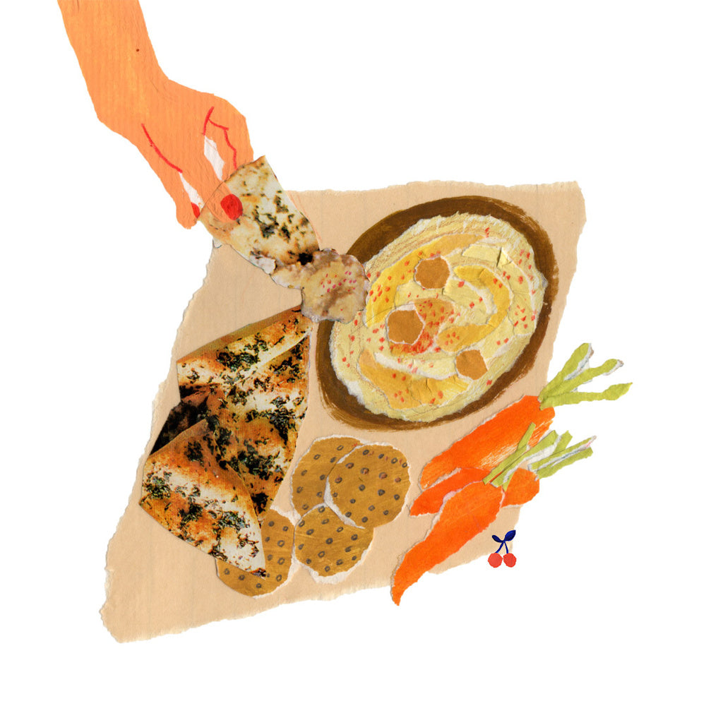 An illustration of pita bread being dipped into hummus by mixed media artist Auracherrybag