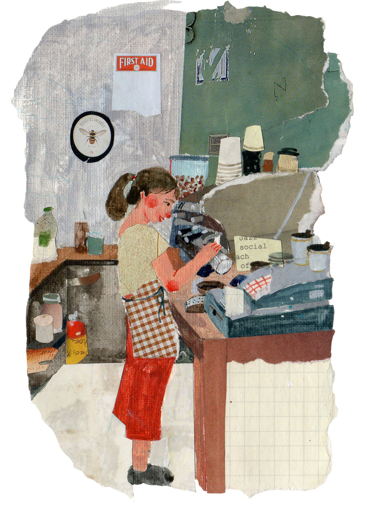 Illustration of a young woman working in a coffee shop by the mixed media artist Auracherrybag