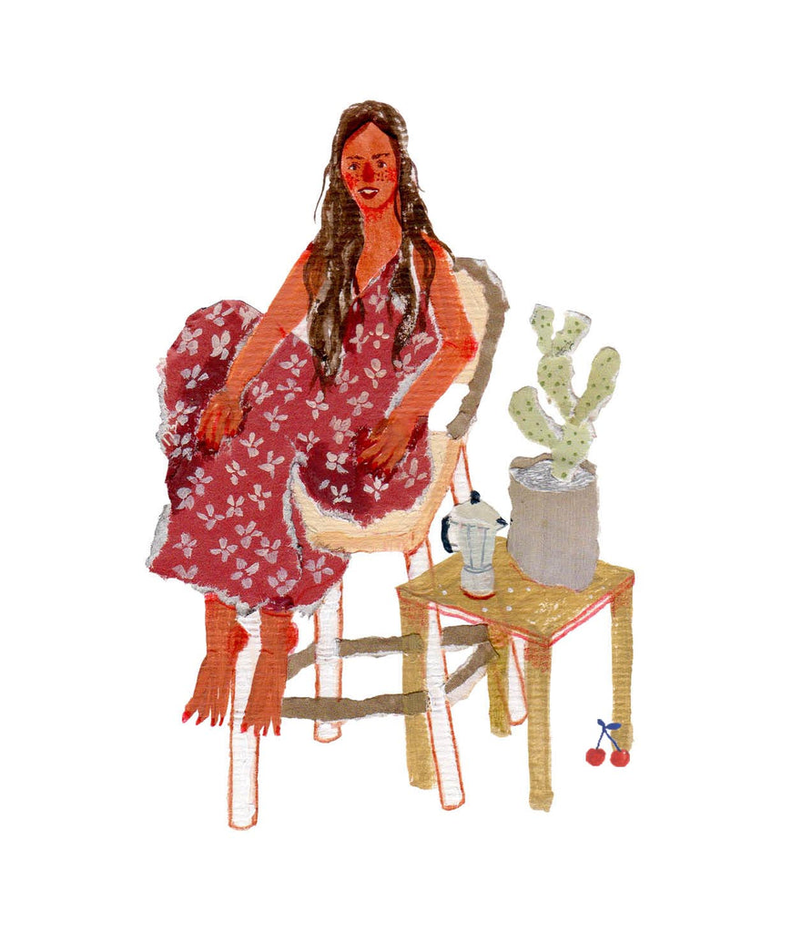 Illustration of a young woman sitting in a chair, with a moka pot and cactus on a table next to her. The work is by the mixed media artist Auracherrybag