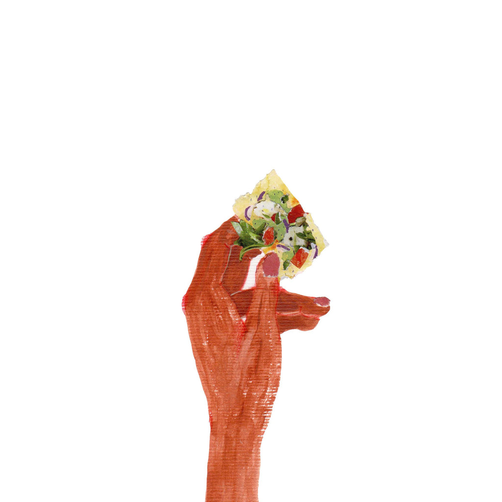 An illustration of somebody holding a small piece of fresh food by mixed media artist Auracherrybag