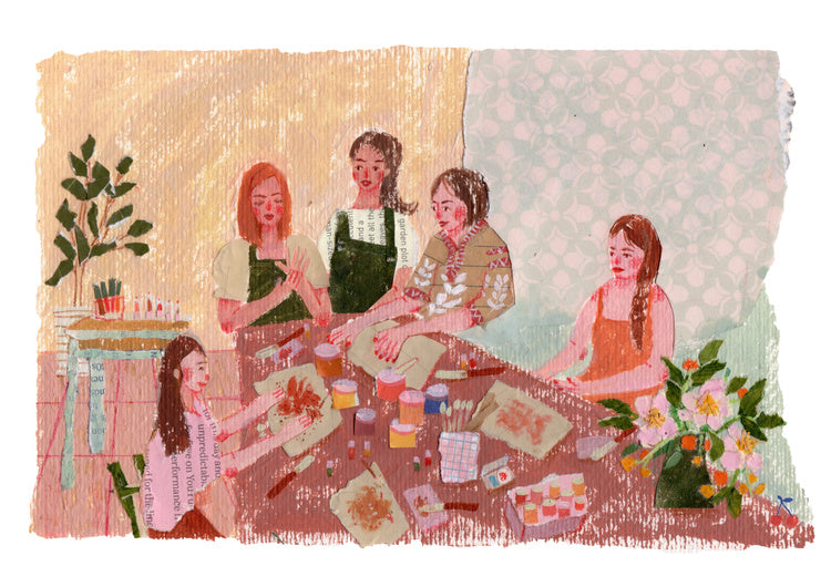 An illustration of people crowded around a girl sitting at a table by the mixed media artist Auracherrybag