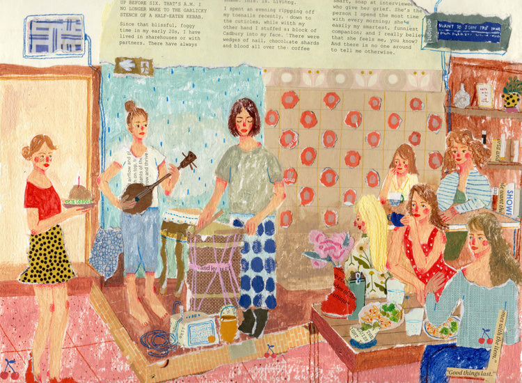An illustration of some women playing music together and a cake being brought out by the mixed media artist Auracherrybag