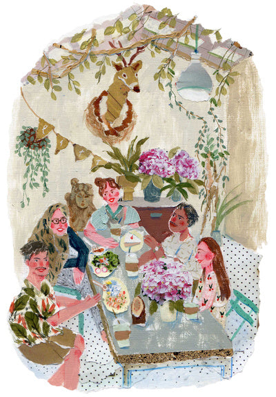 An illustration of people sitting around a table eating together by the mixed media artist Auracherrybag