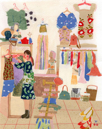 An illustration of a woman in a clothing store by the mixed media artist Auracherrybag
