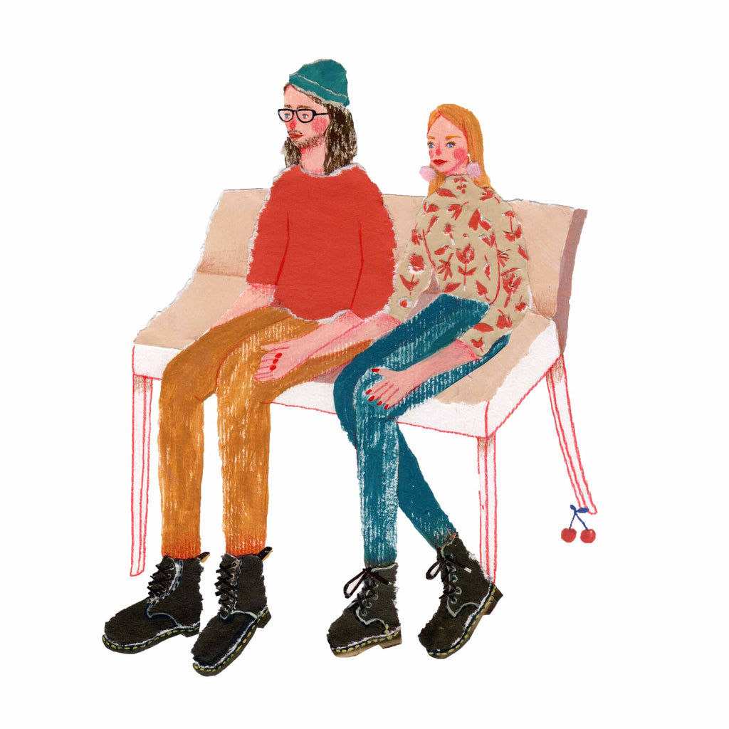 An illustration of a young couple sitting on a bench by the mixed media artist Auracherrybag