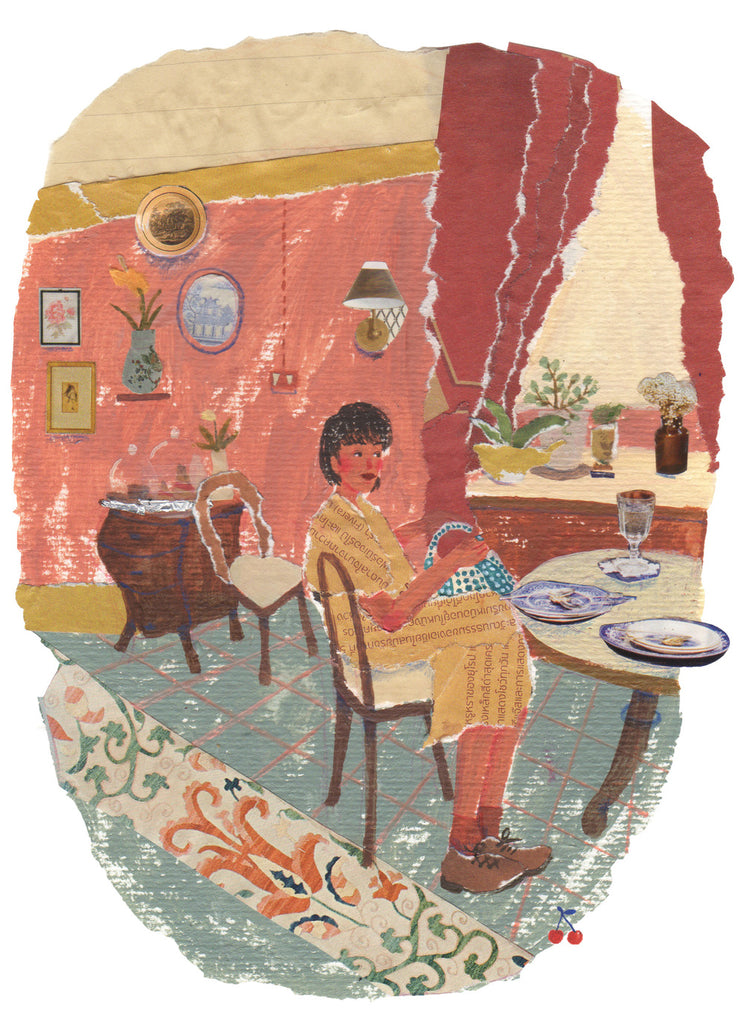 An illustration of a woman sitting down at a table by the mixed media artist Auracherrybag