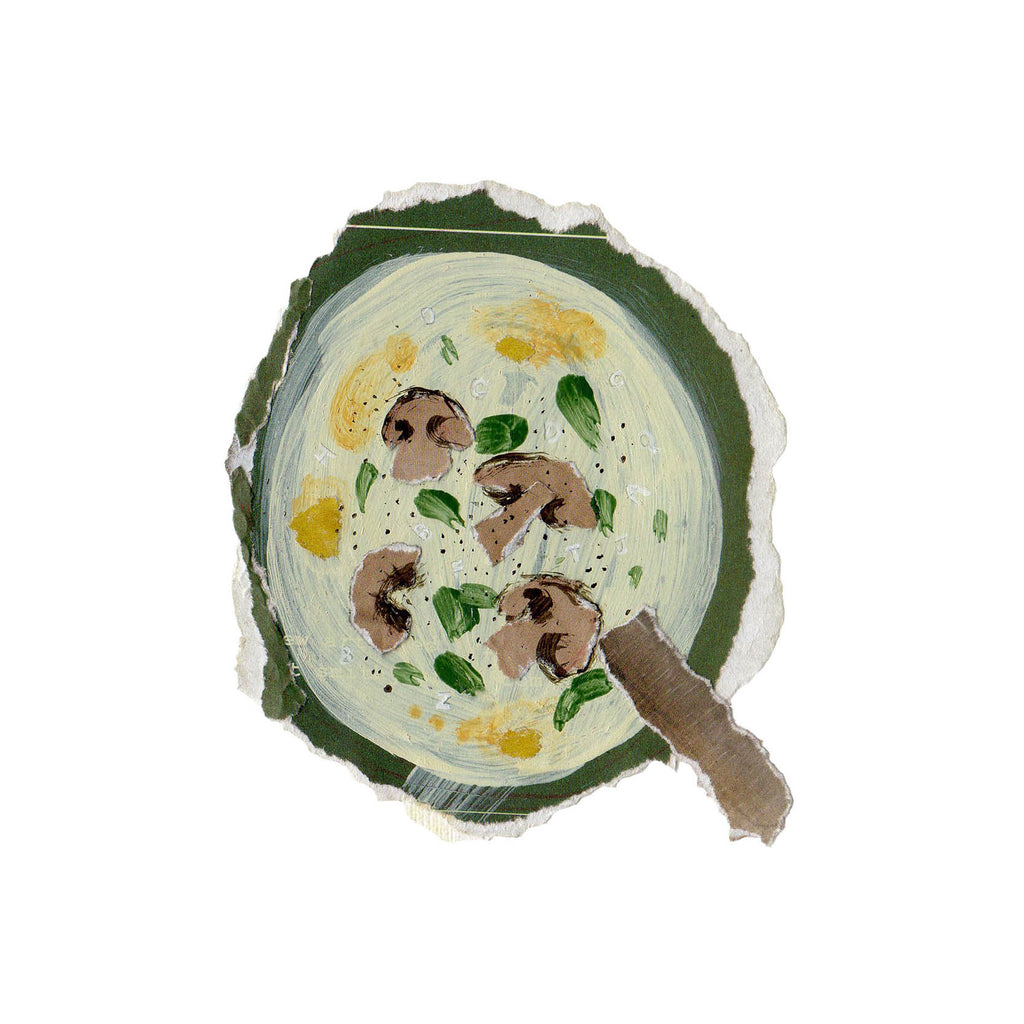 An illustration of a bowl of food that includes mushrooms by by mixed media artist Auracherrybag