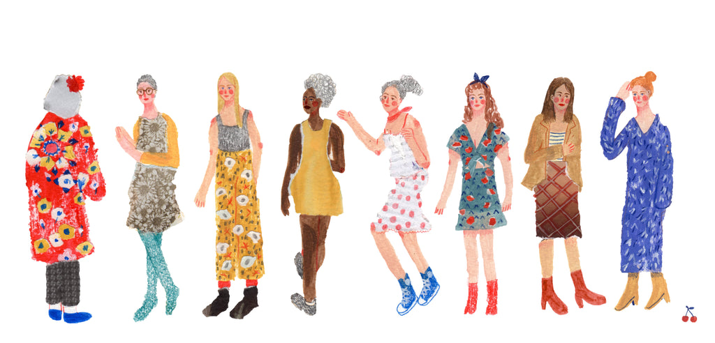 An illustration of a line of women of different ages and appearances by the mixed media artist Auracherrybag