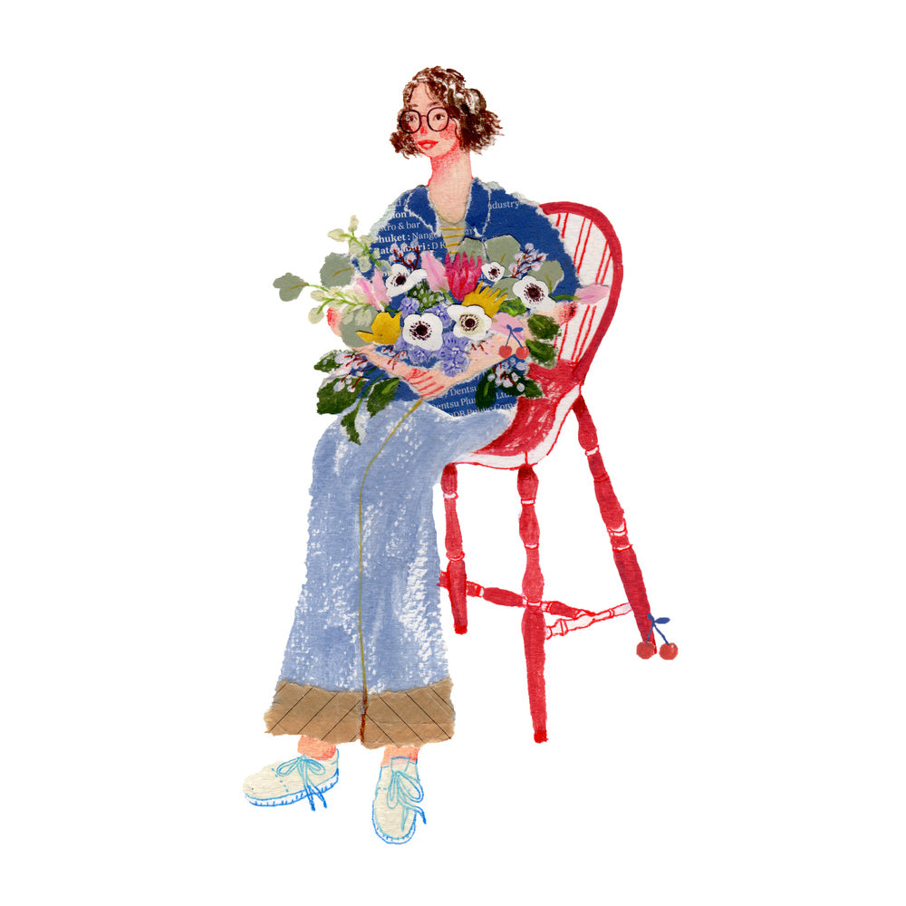 An illustration of a young women sitting in a red char with some flowers by the mixed media artist Auracherrybag
