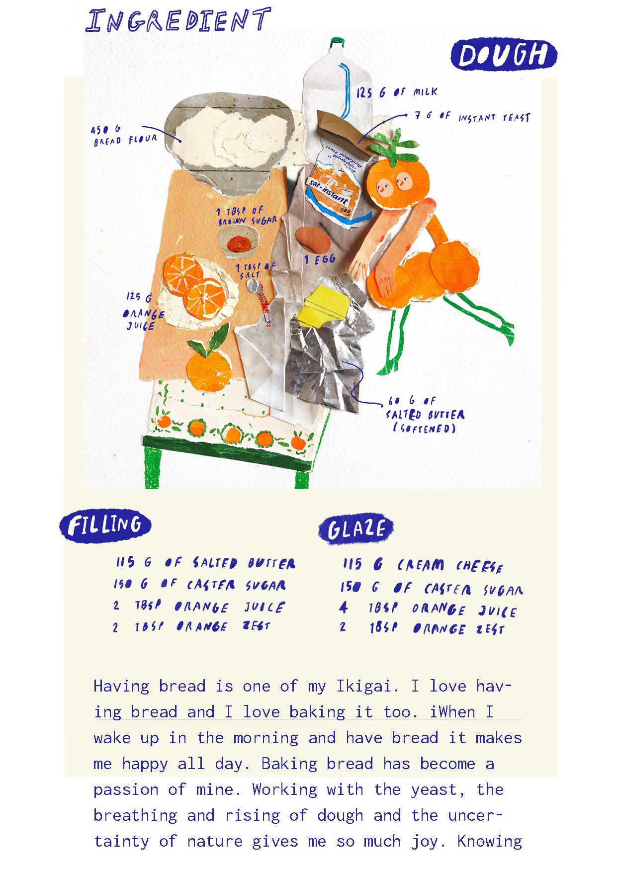 Orange roll recipe mixed media painted paper collage by auracherrybag food illustration