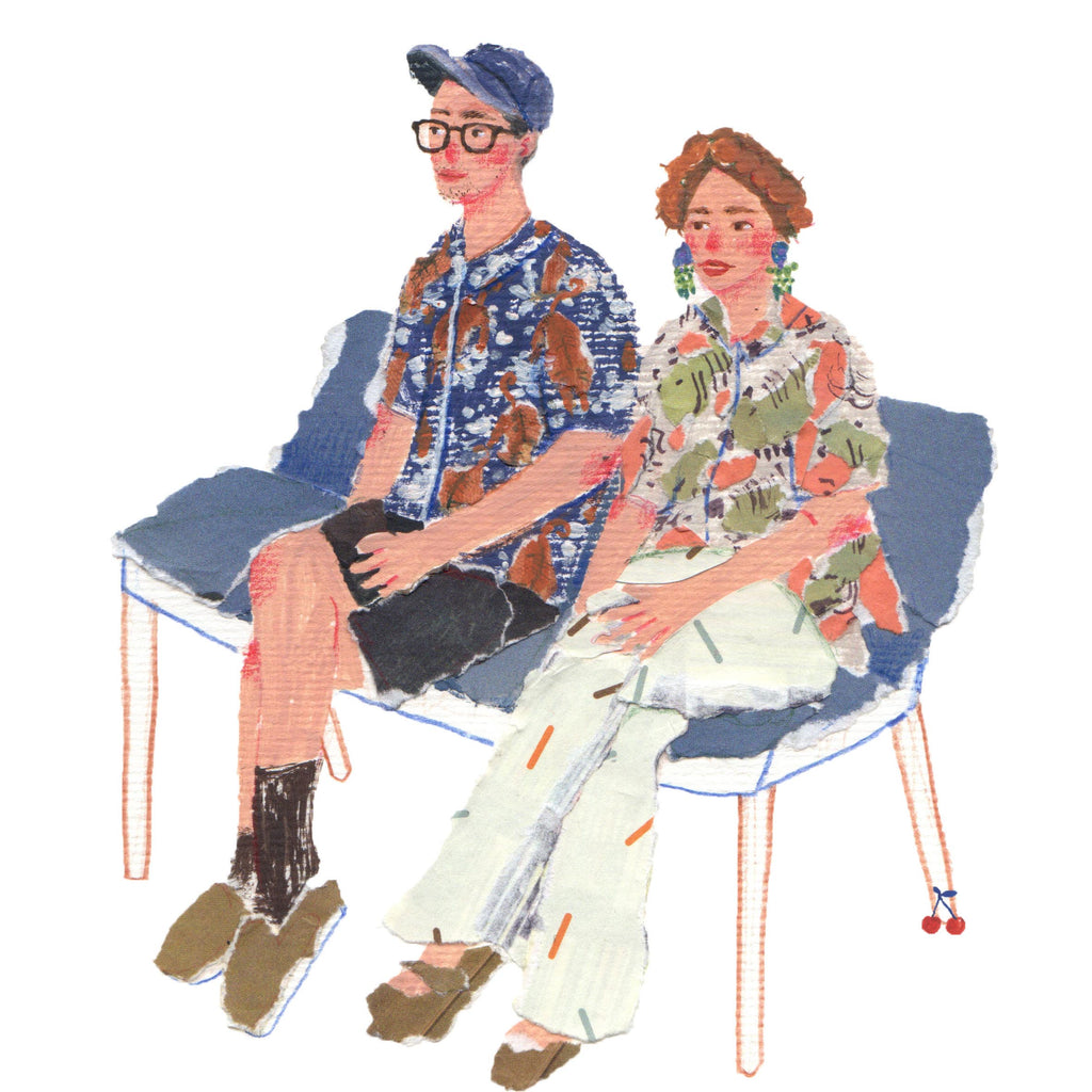 An illustration of two young people sitting on a blue bench by the mixed media artist Auracherrybag