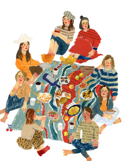 An illustration of people ssitting down together on a rug having a picnic by the mixed media artist Auracherrybag