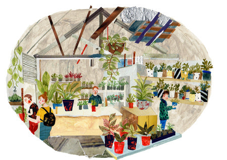 An illustration of the inside of a plant shop by the mixed media artist Auracherrybag