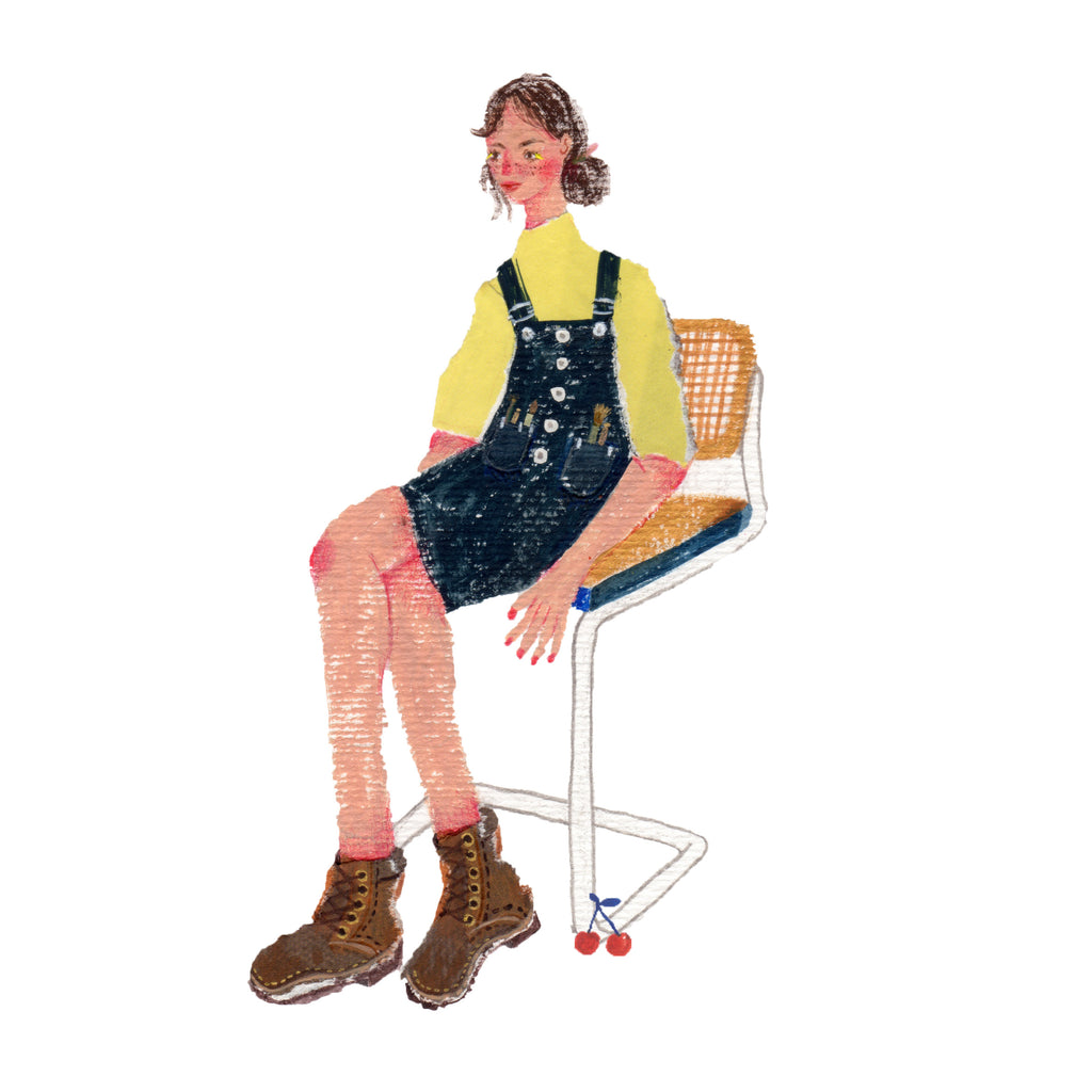 An illustration of a young woman in overalls sitting in a chair by the mixed media artist Auracherrybag